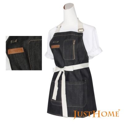 Just Home史代爾丹寧附口袋短版牛仔圍裙-75x63cm(附帶可調鬆緊)