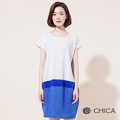 CHICA 輕復古拼接水玉圓點設計洋裝(3色)