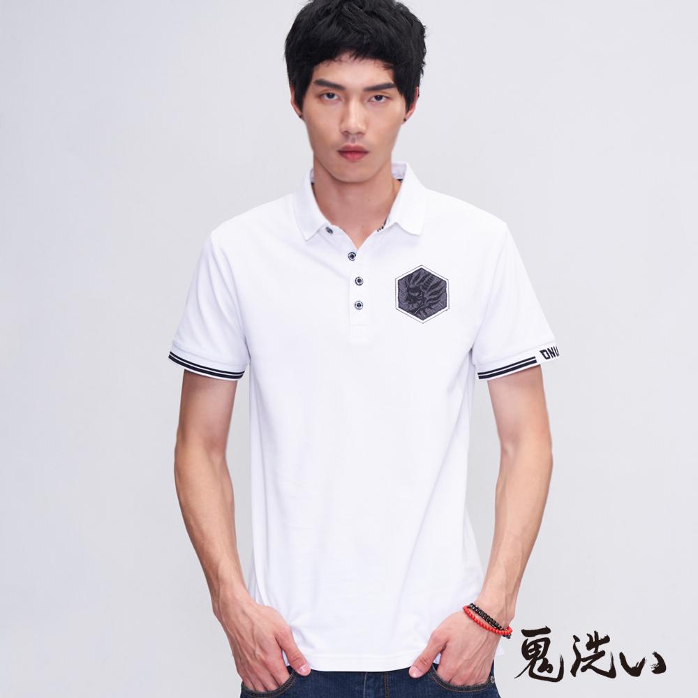 鬼洗 BLUE WAY 六角鬼頭繡花涼感POLO衫(白)