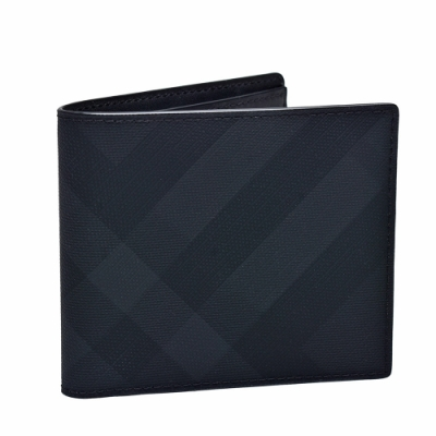 BURBERRY 經典London Check格紋皮革對摺短夾(炭灰色)