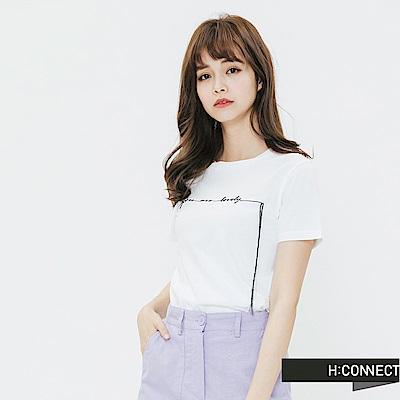 H:CONNECT 韓國品牌 女裝-簡約草寫文字T-shirt-白
