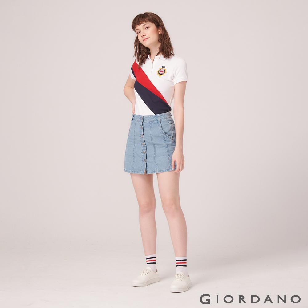 GIORDANO 女裝UNION JACK系列短袖POLO衫-68 標誌白/紅/藍