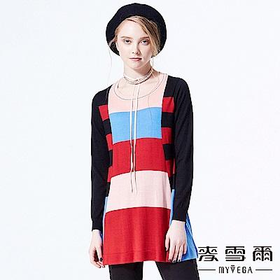【麥雪爾】寬條紋色塊拼接傘襬上衣-紅
