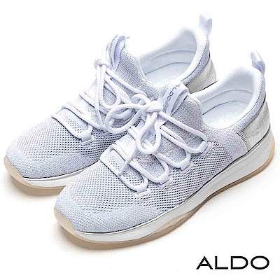 ALDO 原色針織彈性網眼布綁帶式厚底休閒鞋~氣質白色
