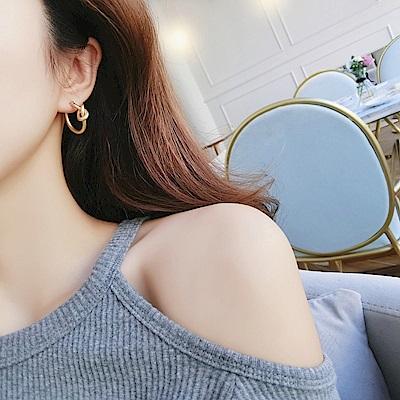 梨花HaNA 霧金版韓國nyu冷淡風格打結圈飾耳環 (共二色)