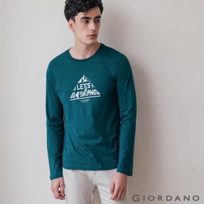 GIORDANO 男裝GO SKIING印花長袖T恤-32 孔雀綠