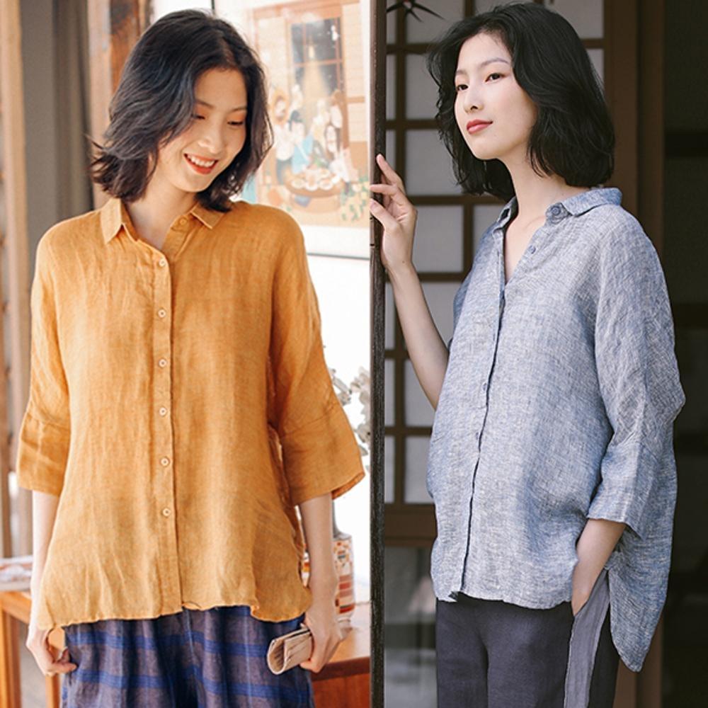襯衫-稀疏亞麻黃色薄版寬鬆棉麻上衣-設計所在