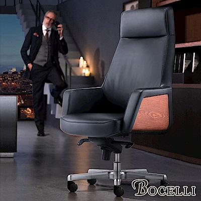 BOCELLI-MESTIERI工藝風尚高背辦公椅(義大利牛皮)經典黑