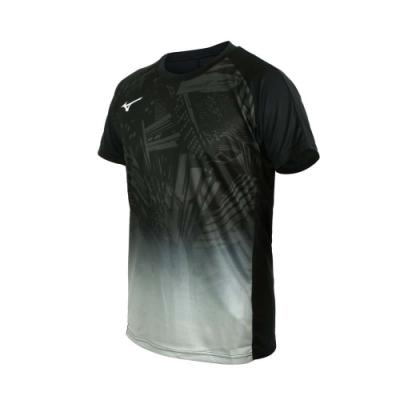 MIZUNO 男世界大賽短袖T恤-吸濕排汗 慢跑 路跑 上衣 運動 美津濃 V2MA058709 黑綠白