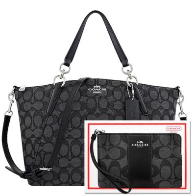 COACH 黑色大C織紋手提/斜背兩用包+黑色大C PVC手拿包