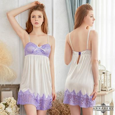 大尺碼唯美紫白雙色柔緞性感睡衣 白 L-2L Annabery