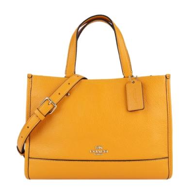 COACH 馬車素面皮革方形手提/斜背兩用包(黃橙)