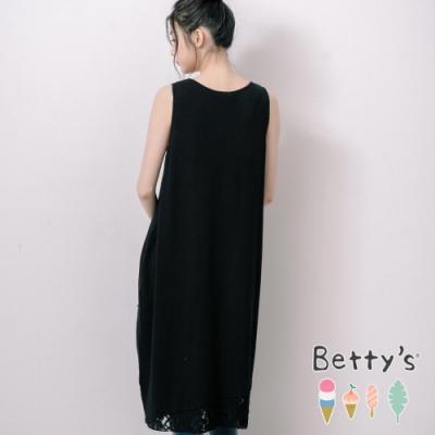 betty's貝蒂思 微抓破拼接蕾絲無袖洋裝(黑色)
