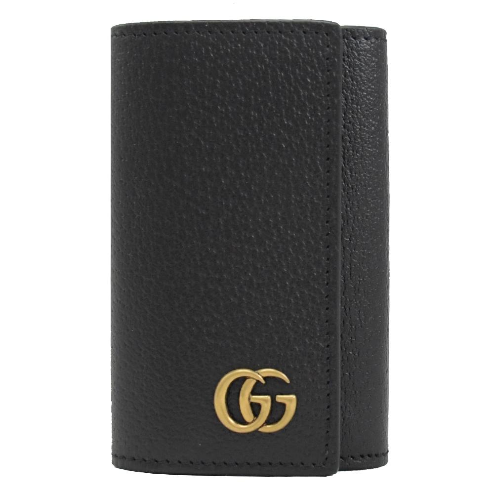 GUCCI GG Marmont系列牛皮鑰匙鎖包(黑/6孔)