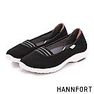 HANNFORT EASY WALK條紋芭雷氣墊健走鞋-女-黑