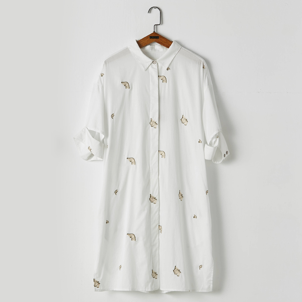 gozo 落葉印花解構袖口襯衫洋裝(白色)