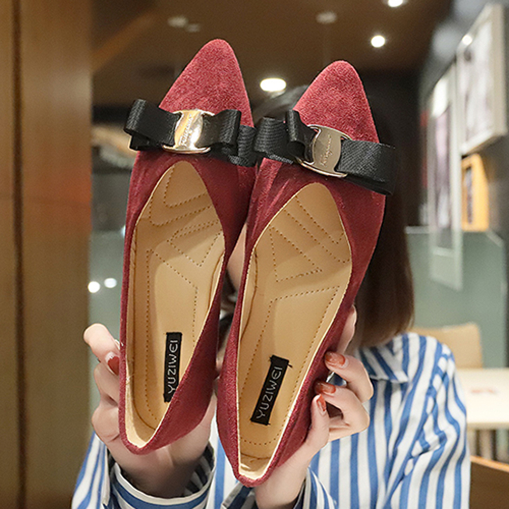 韓國KW美鞋館 女人話題舒適平底鞋-酒紅色