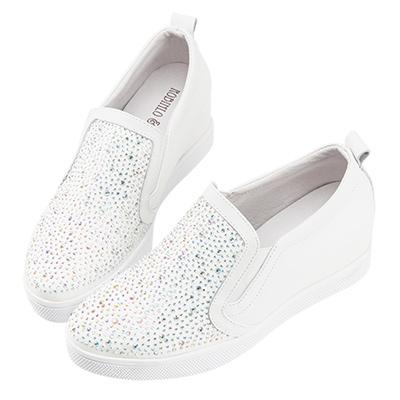 Robinlo & Co.經典閃鑽牛皮內增高休閒鞋 白