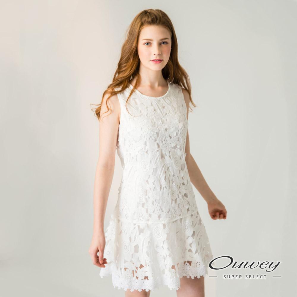 OUWEY歐薇 水溶蕾絲剪接背心洋裝(黑/白)