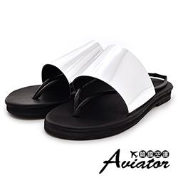 Aviator韓國空運-正韓製柔軟皮革時尚兩穿夾腳涼拖鞋-銀