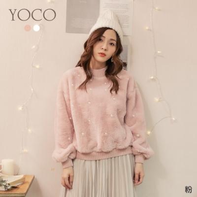 東京著衣-YOCO 一見鍾情珍珠點綴毛絨絨上衣