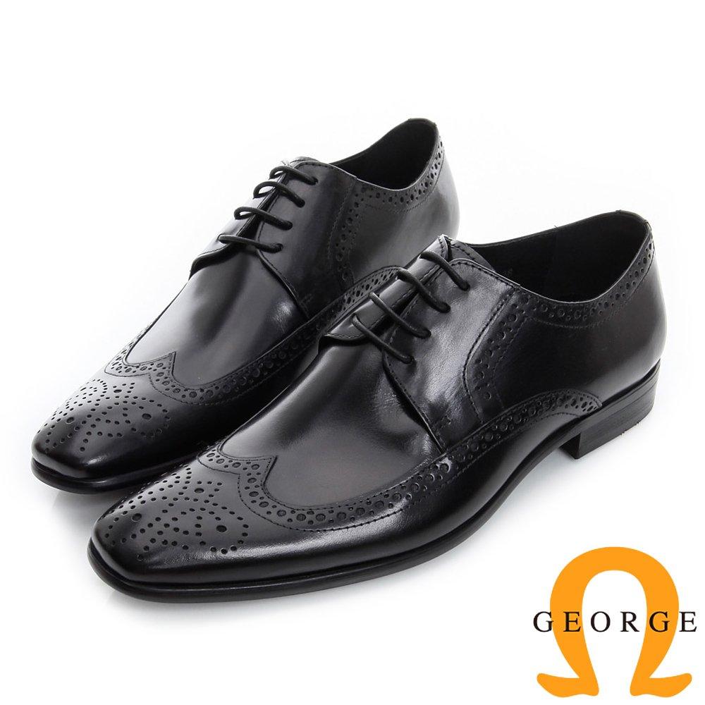 GEORGE 喬治-雕花繫帶真皮翼紋牛津鞋-黑色535012BW-10