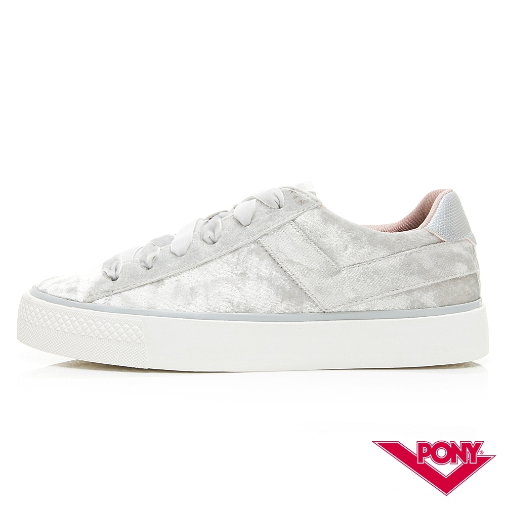 【PONY】TOP STAR系列絨毛鞋面低筒百搭復古帆布鞋 女鞋 灰白