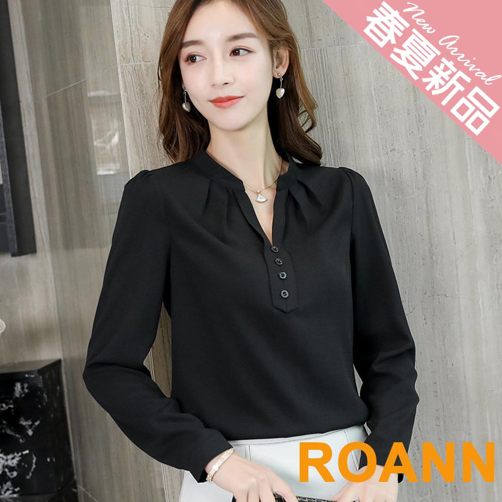 OL風V領鈕扣裝飾長袖雪紡襯衫 (共三色)-ROANN