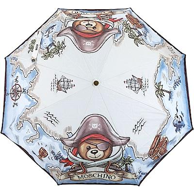 MOSCHINO 海盜泰迪熊圖案自動摺疊傘(水藍色)