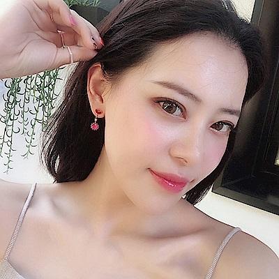 梨花HANA  韓國S925銀針好氣色愛心粉紅鑽耳環