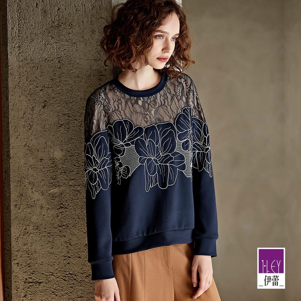 ILEY伊蕾 蕾絲刺繡拼接太空棉上衣(藍)
