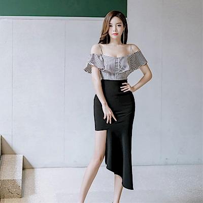 DABI 韓國風時尚吊帶不規則氣質長裙短袖洋裝