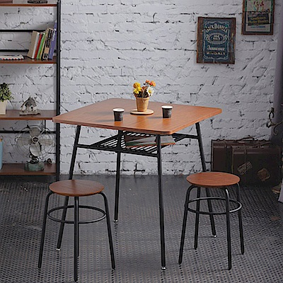 一桌二凳工業風復古桌凳組合(桌75x75x73cm)