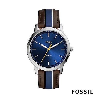 FOSSIL MINIMALIST 棕x藍色條紋極薄款男錶
