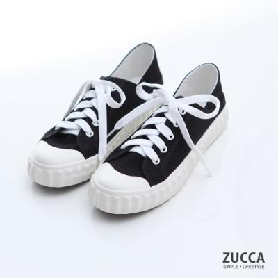 ZUCCA-雙色綁帶繩帆布休閒鞋-黑-z6906bk