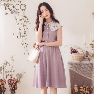 東京著衣-YOCO 半糖女孩細格紋拼接蕾絲領洋裝-S.M.L(共二色)