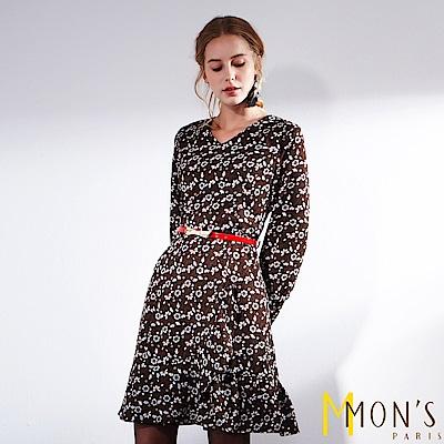 MONS V領浪漫碎花連身洋裝