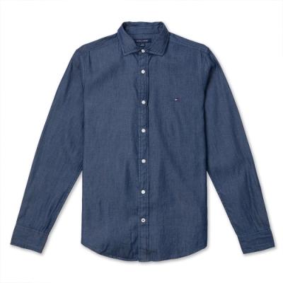 TOMMY 經典刺繡小LOGO 長袖襯衫(男)-麻花藍色