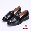 WONDERS -流蘇寬帶設計漆皮尖頭低跟鞋-黑色