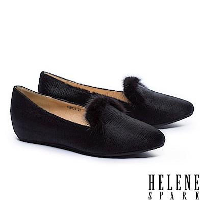 低跟鞋 HELENE SPARK 奢華暖意水貂毛設計全真皮樂福低跟鞋-黑