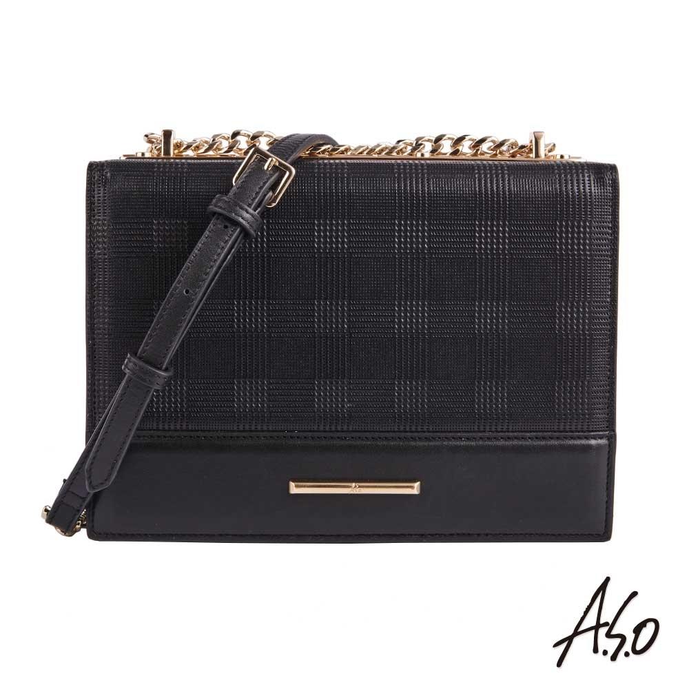 A.S.O時尚流行 南法微風頭層真皮壓格斜背包-黑