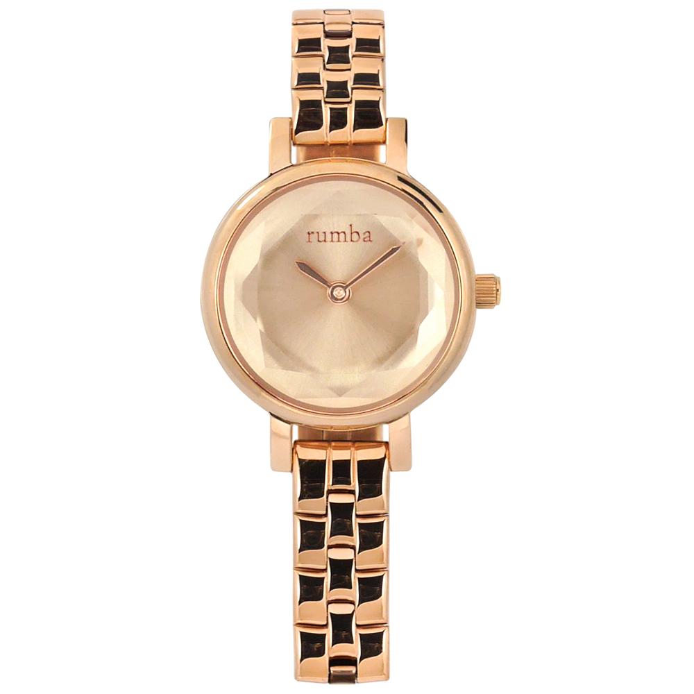 rumba time 紐約品牌 小巧細緻 切割玻璃鏡面 不鏽鋼手錶-鍍玫瑰金/23mm