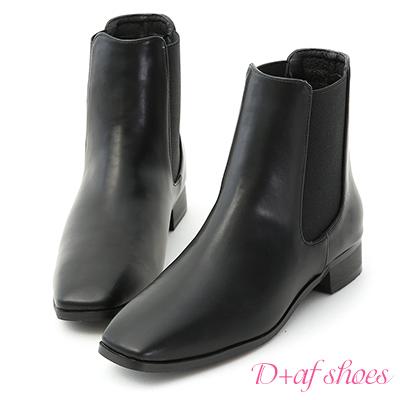 D+AF 品味時尚.小方頭切爾西短靴*黑