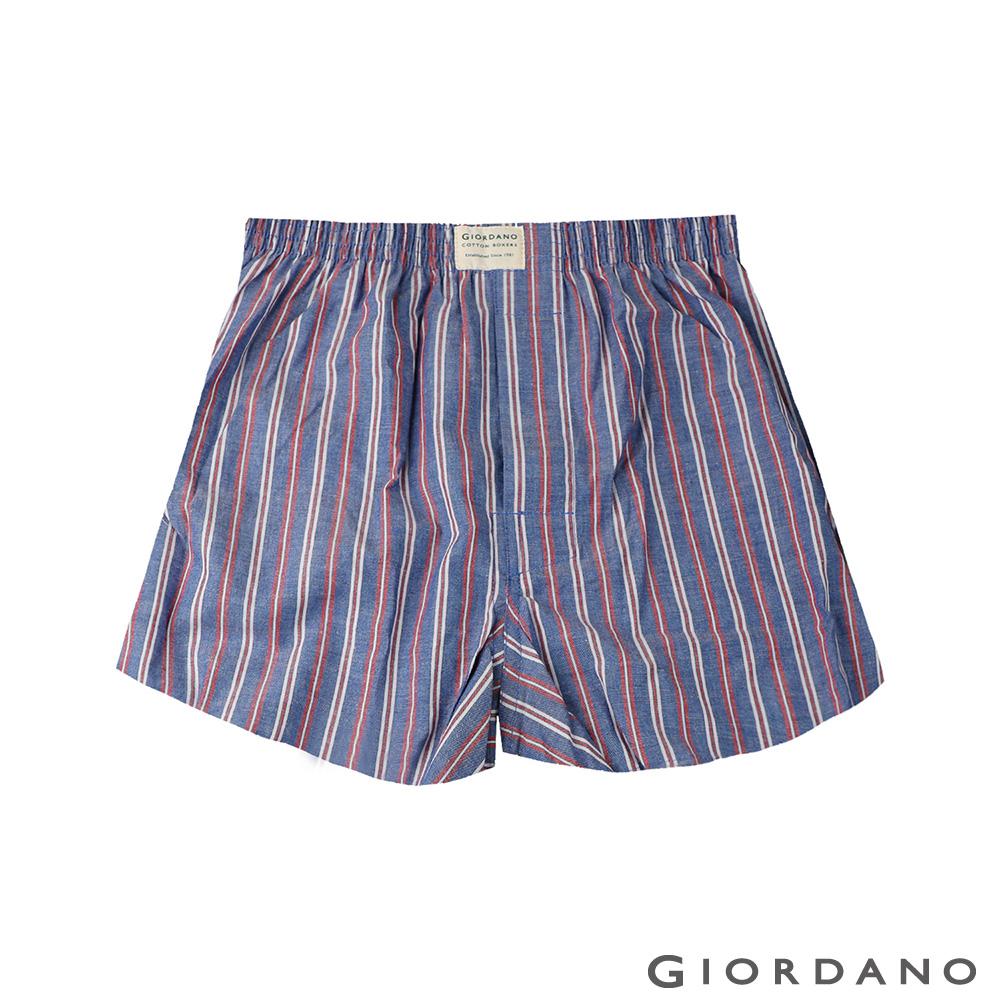 GIORDANO 男裝純棉平底四角內褲-28 海軍寶藍/紅條紋色 @ Y!購物