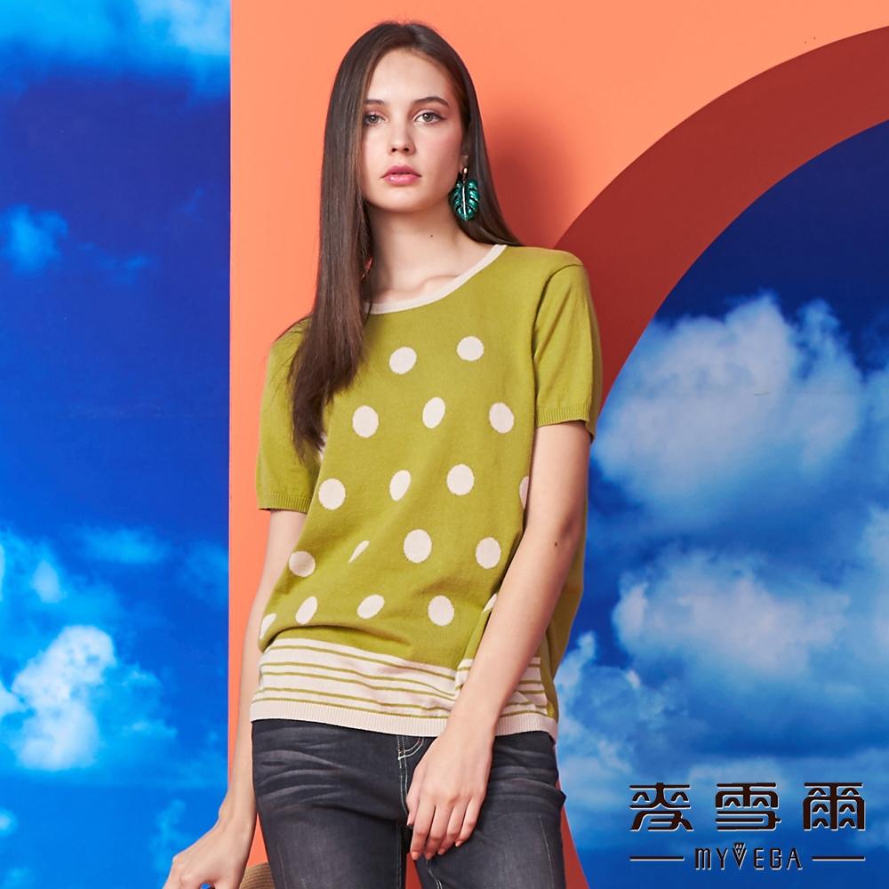 【麥雪爾】純棉波卡圓點下擺條紋針織衫-黃