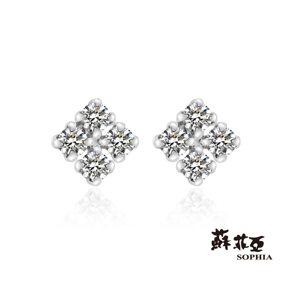 蘇菲亞SOPHIA - 輕珠寶系列搖曳方塊鑽石耳環