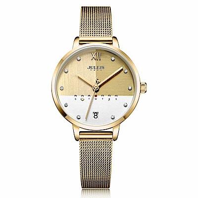JULIUS聚利時 1/3的幸福米蘭錶帶腕錶-金色/32X38mm