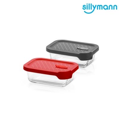 【韓國sillymann】 100%鉑金矽膠微波烤箱輕量玻璃保鮮盒(長方型380ml)
