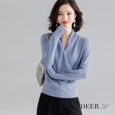 DEER.W 交叉斜襟針織上衣(灰藍)