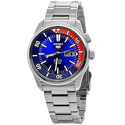 SEIKO 亮眼百事圈5號手動機械男錶 (SRPB25K1)-藍+紅x42.4mm